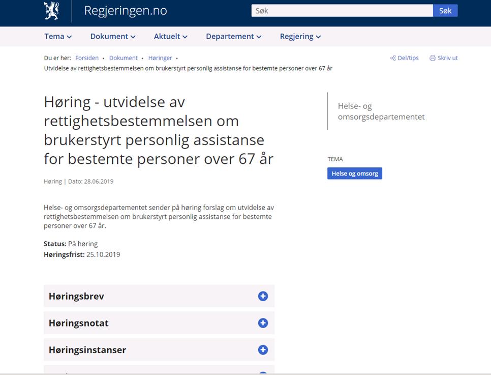 Høringsuttalelse fra Foreningen JAG i forbindelse med utvidelse av rettighetsbestemmelsen for bestemte personer over 67 år.